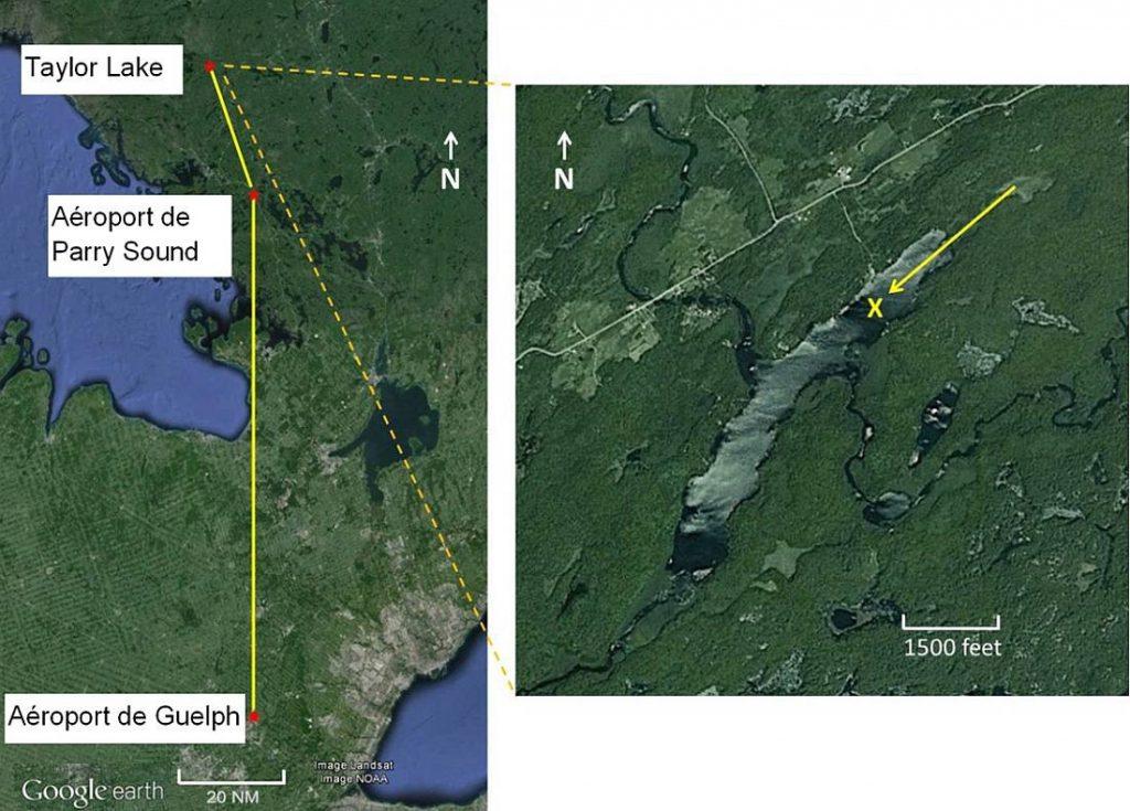 Figure 1. Cartes du lac Taylor, indiquant le trajet, la direction de l'approche et le lieu de l'accident (Source : Google Earth, avec annotations du BST)